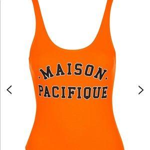 Topshop Maison Pacifique orange bodysuit, sz 2